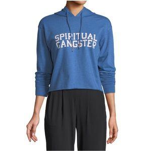 SPIRITUAL GANGSTER Varsity Crop Hoodie Blue Size S